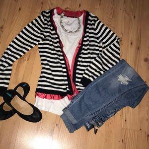Striped cardigan with pink trim